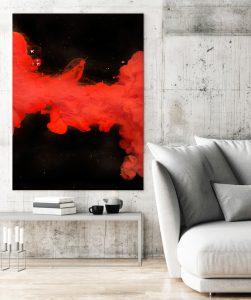 großes expressives Wandbild, Fotokunst von Lars Rogge in einem Beispielraum