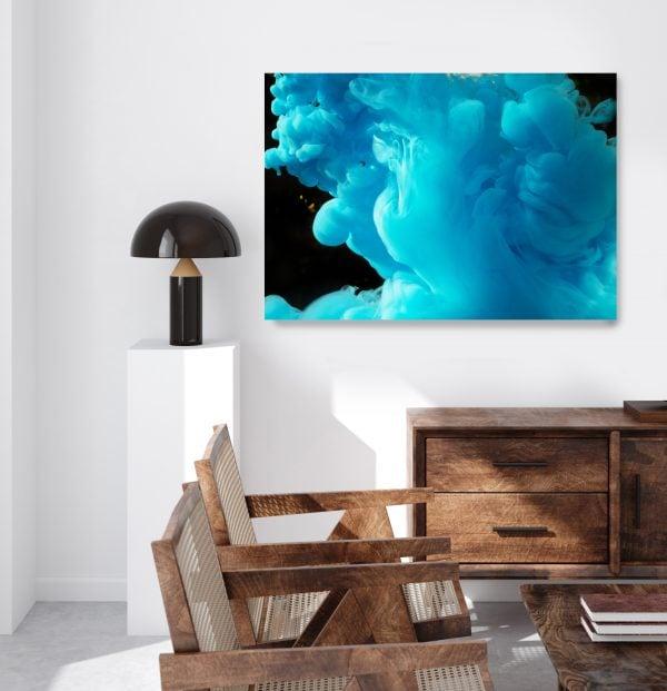 abstraktes Leinwandbild blau