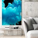 Wohnzimmerbild Blau